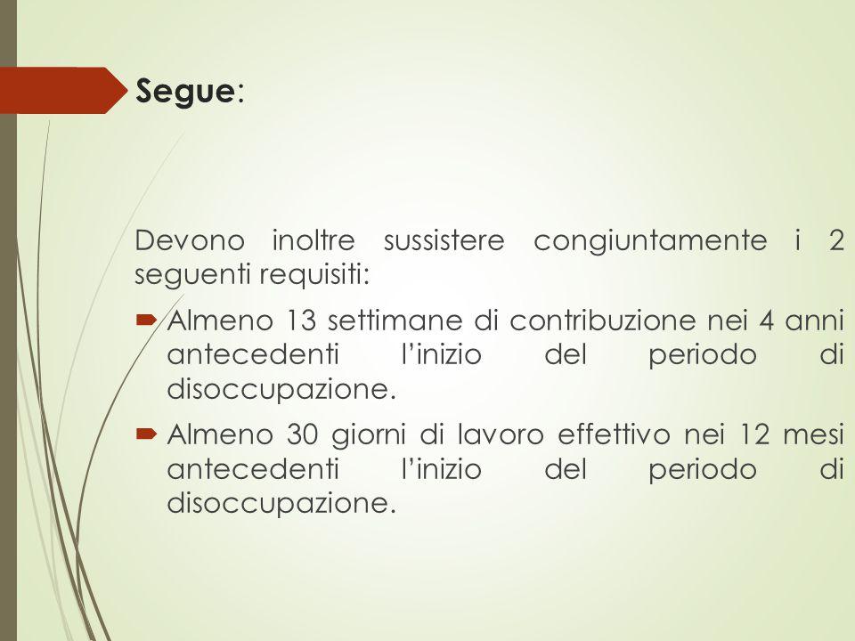 Segue : Devono inoltre sussistere congiuntamente i 2 seguenti requisiti:  Almeno 13 settimane di contribuzione nei 4 anni antecedenti l'inizio del pe