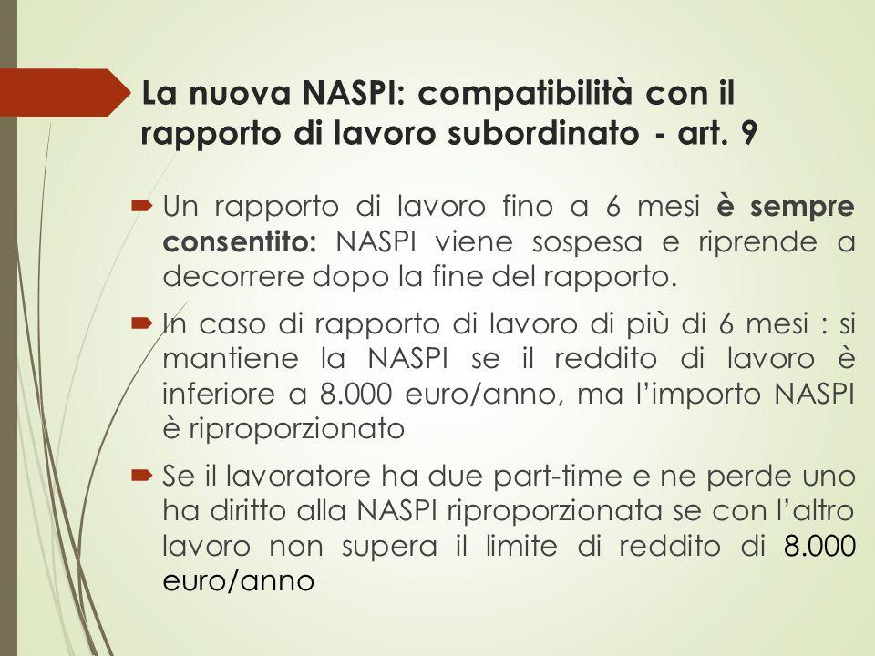 La nuova NASPI: compatibilità con il rapporto di lavoro subordinato - art. 9  Un rapporto di lavoro fino a 6 mesi è sempre consentito: NASPI viene so