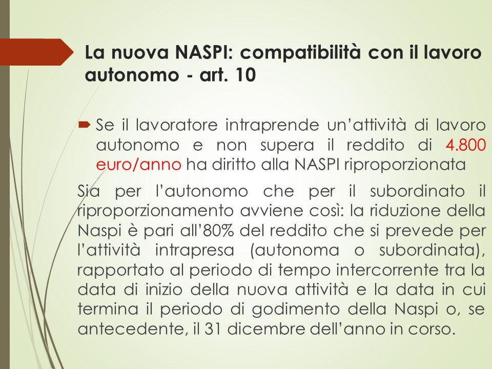 La nuova NASPI: compatibilità con il lavoro autonomo - art. 10  Se il lavoratore intraprende un'attività di lavoro autonomo e non supera il reddito d