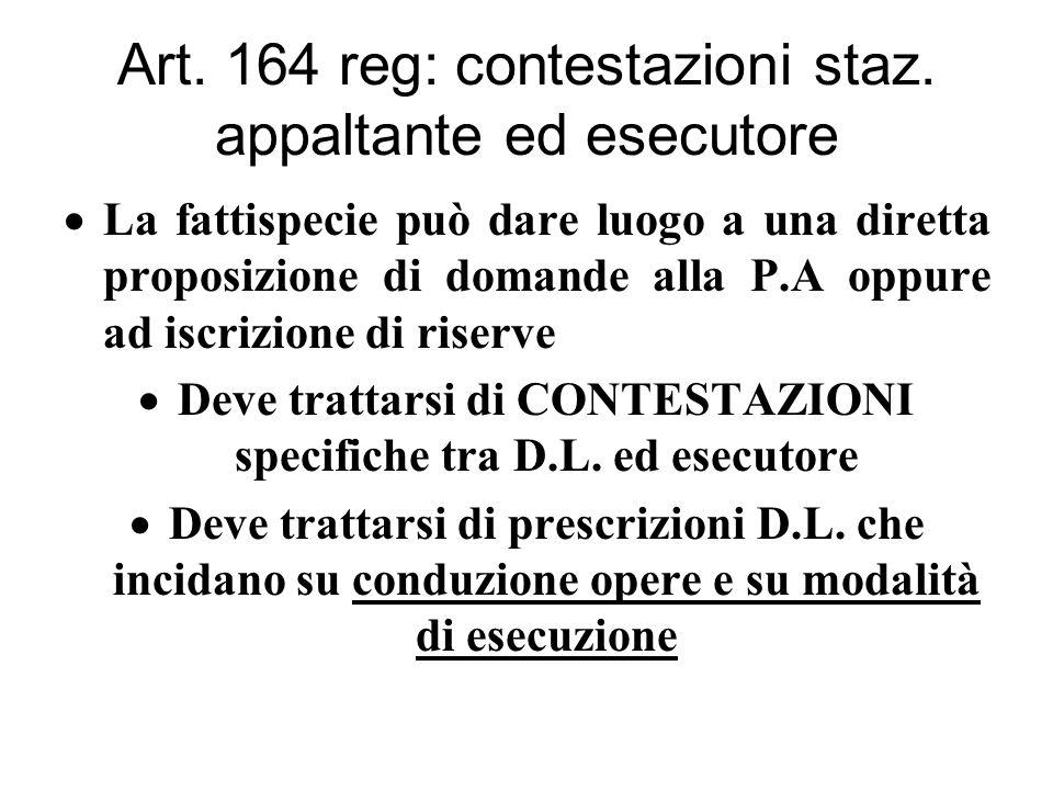 Art. 164 reg: contestazioni staz.