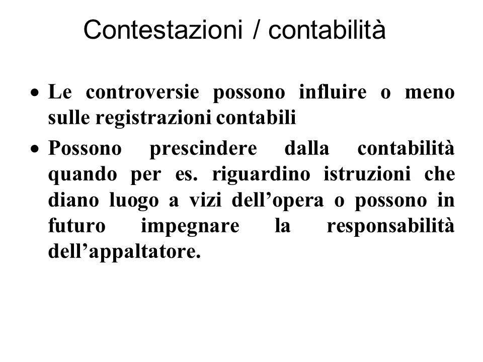 Contestazioni / contabilità  Le controversie possono influire o meno sulle registrazioni contabili  Possono prescindere dalla contabilità quando per es.