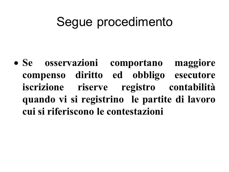 Segue procedimento  Se osservazioni comportano maggiore compenso diritto ed obbligo esecutore iscrizione riserve registro contabilità quando vi si registrino le partite di lavoro cui si riferiscono le contestazioni