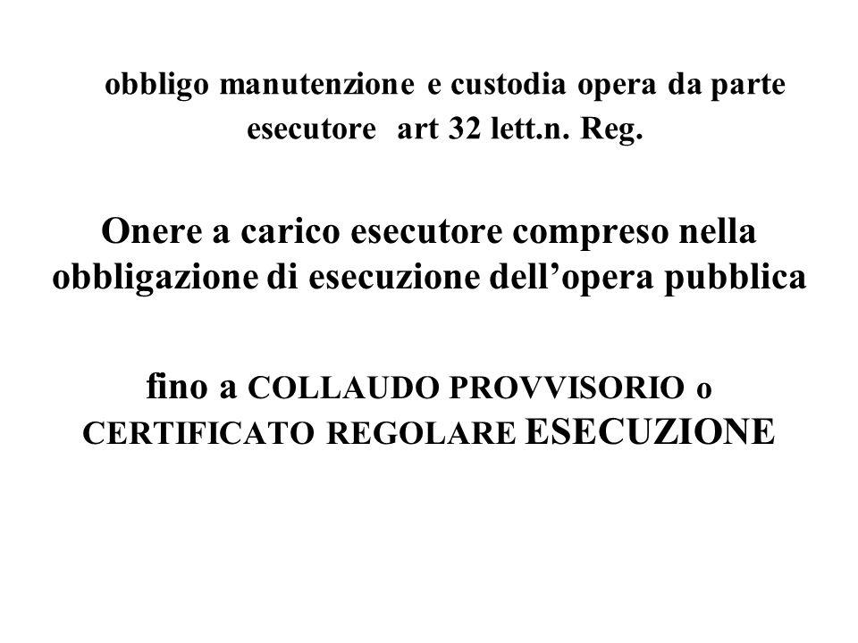 obbligo manutenzione e custodia opera da parte esecutore art 32 lett.n.
