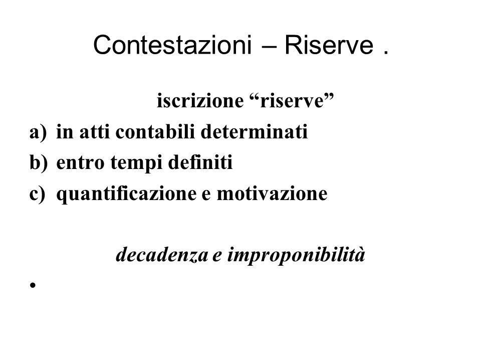 Contestazioni – Riserve.