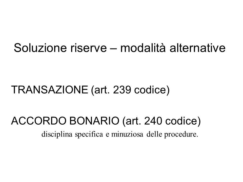 Soluzione riserve – modalità alternative TRANSAZIONE (art.