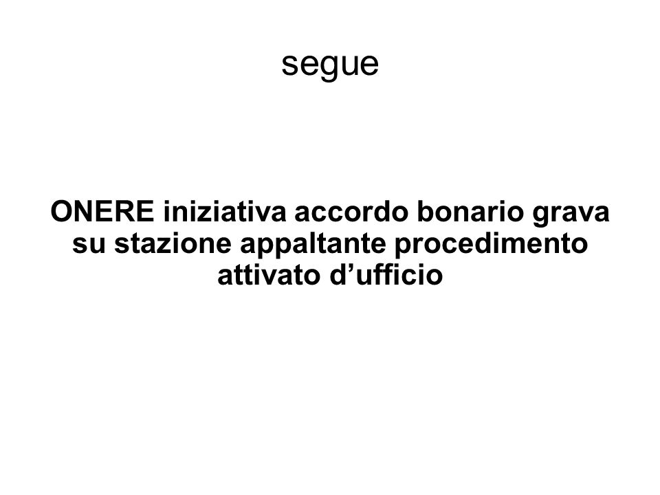 segue ONERE iniziativa accordo bonario grava su stazione appaltante procedimento attivato d'ufficio