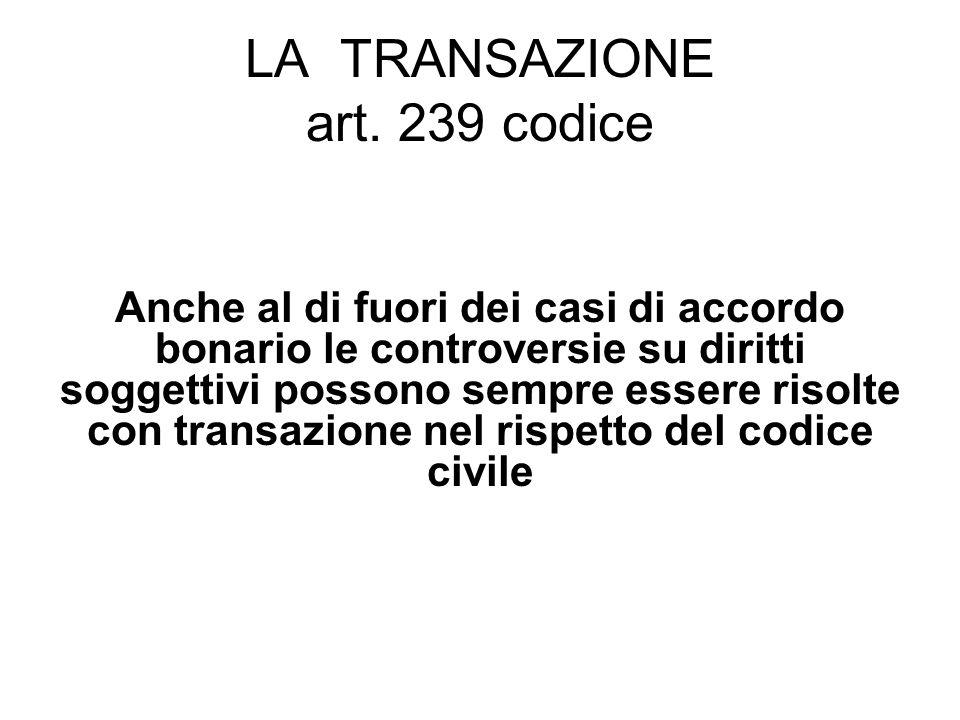 LA TRANSAZIONE art.