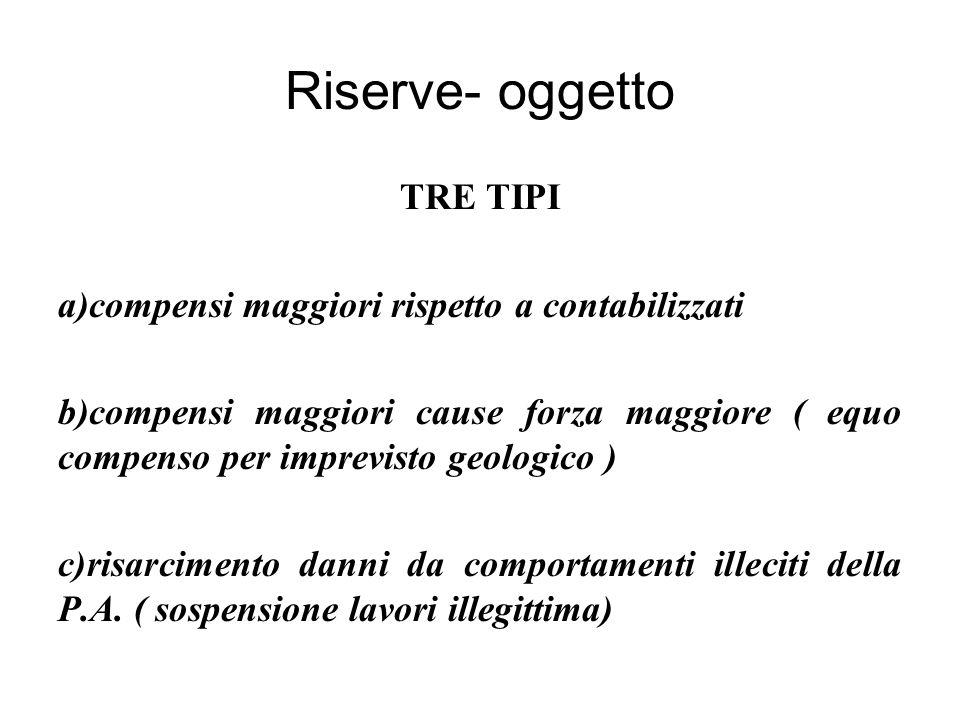 Riserve- oggetto TRE TIPI a)compensi maggiori rispetto a contabilizzati b)compensi maggiori cause forza maggiore ( equo compenso per imprevisto geologico ) c)risarcimento danni da comportamenti illeciti della P.A.