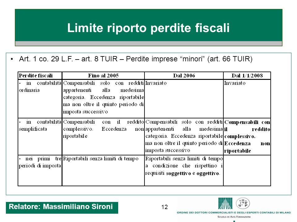 12 Limite riporto perdite fiscali Art.1 co. 29 L.F.