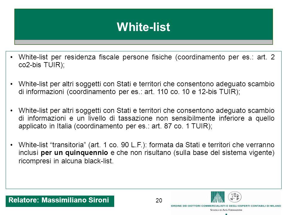 20 White-list White-list per residenza fiscale persone fisiche (coordinamento per es.: art.