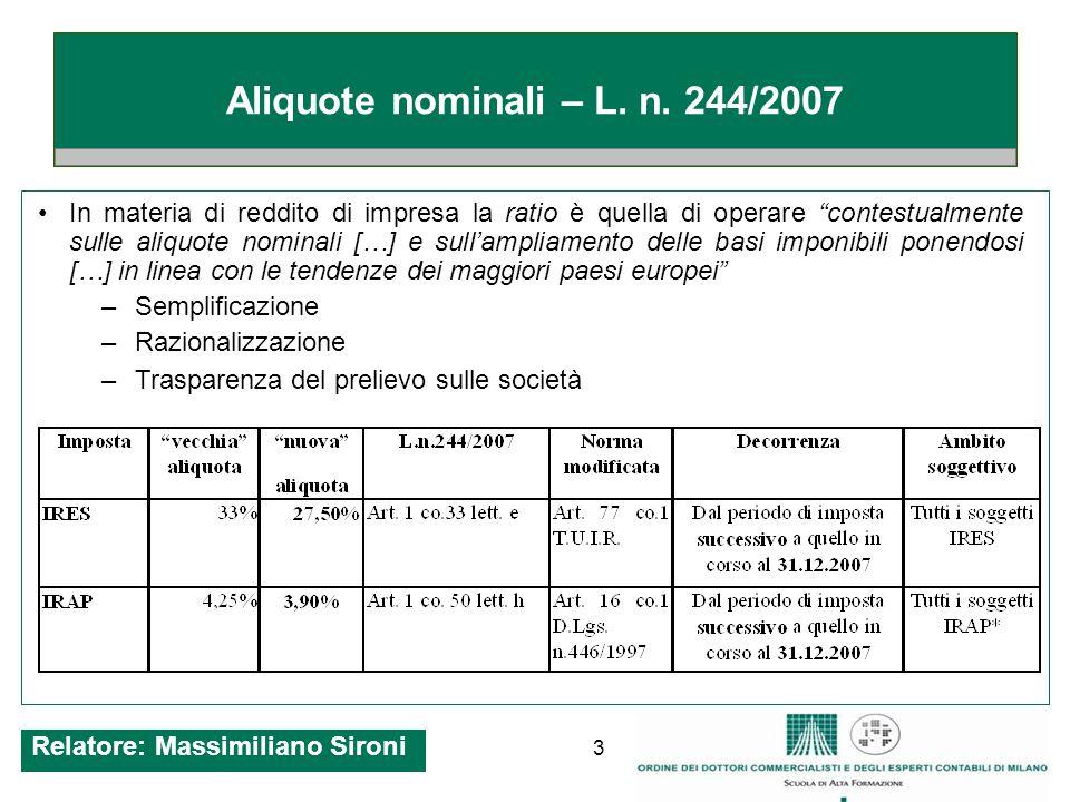 14 Tassazione proporzionale (opzionale) Art.1 co.