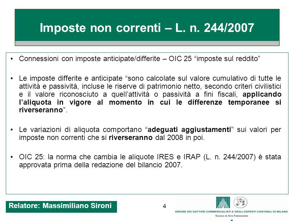 5 Imposte non correnti – L. n. 244/2007 Relatore: Massimiliano Sironi
