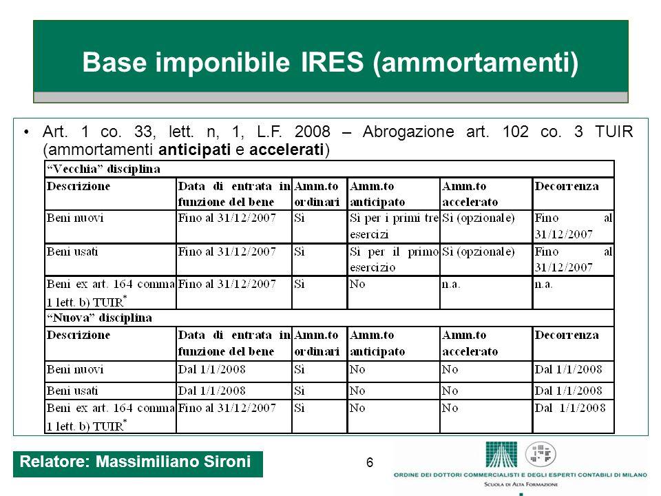 17 IRAP Decorrenza per nuove modalità determinazione base imponibile: a partire dal periodo di imposta successivo a quello in corso al 31.12.2007.