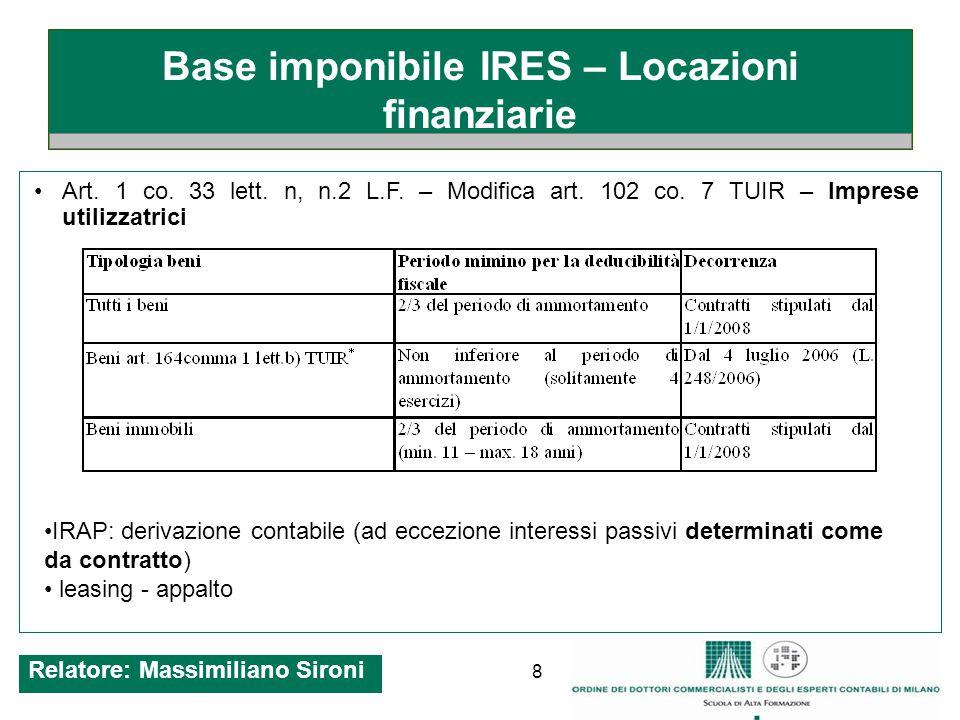 8 Base imponibile IRES – Locazioni finanziarie Art.