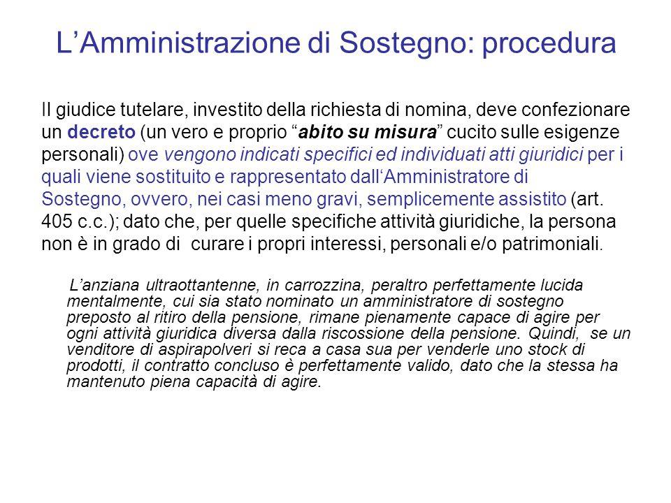 """L'Amministrazione di Sostegno: procedura Il giudice tutelare, investito della richiesta di nomina, deve confezionare un decreto (un vero e proprio """"ab"""