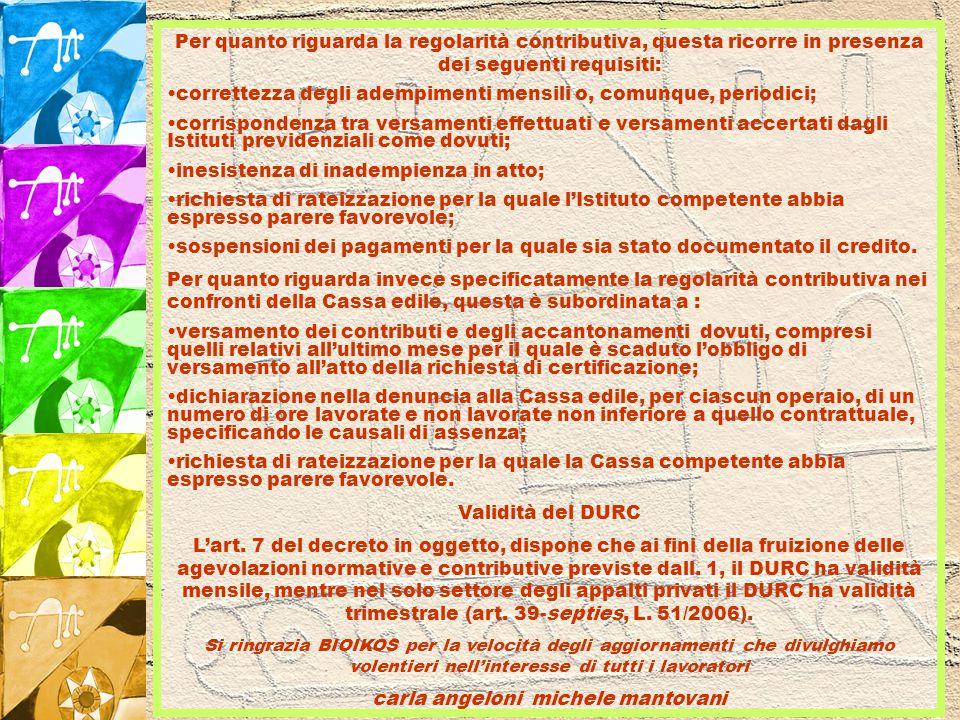DURC = DOCUMENTO UNICO DI REGOLARITA' CONTRIBUTIVA Sulla G.U.