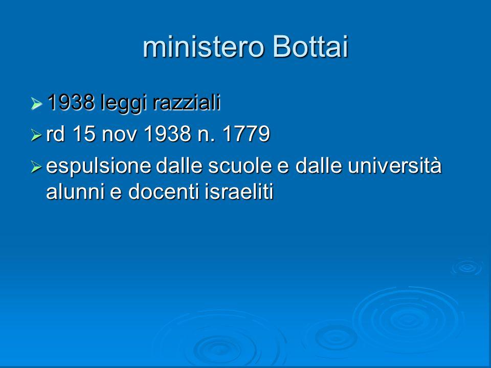 ministero Bottai  1938 leggi razziali  rd 15 nov 1938 n. 1779  espulsione dalle scuole e dalle università alunni e docenti israeliti