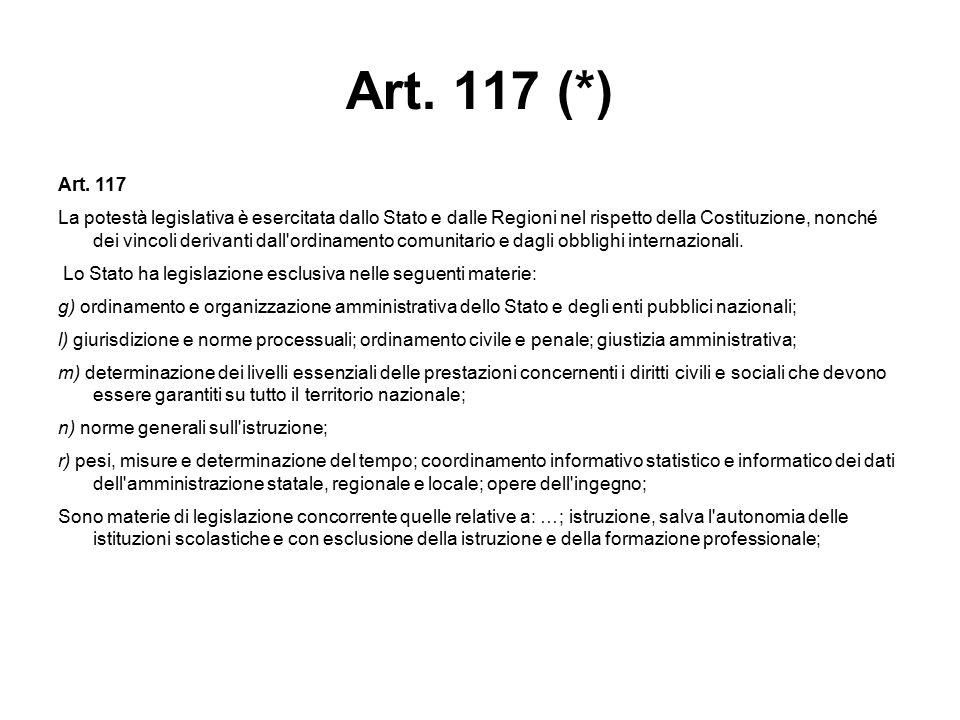 Art. 117 (*) Art. 117 La potestà legislativa è esercitata dallo Stato e dalle Regioni nel rispetto della Costituzione, nonché dei vincoli derivanti da