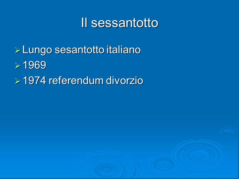 Il sessantotto  Lungo sesantotto italiano  1969  1974 referendum divorzio