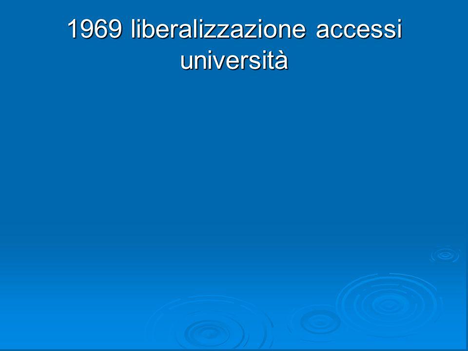 1969 liberalizzazione accessi università