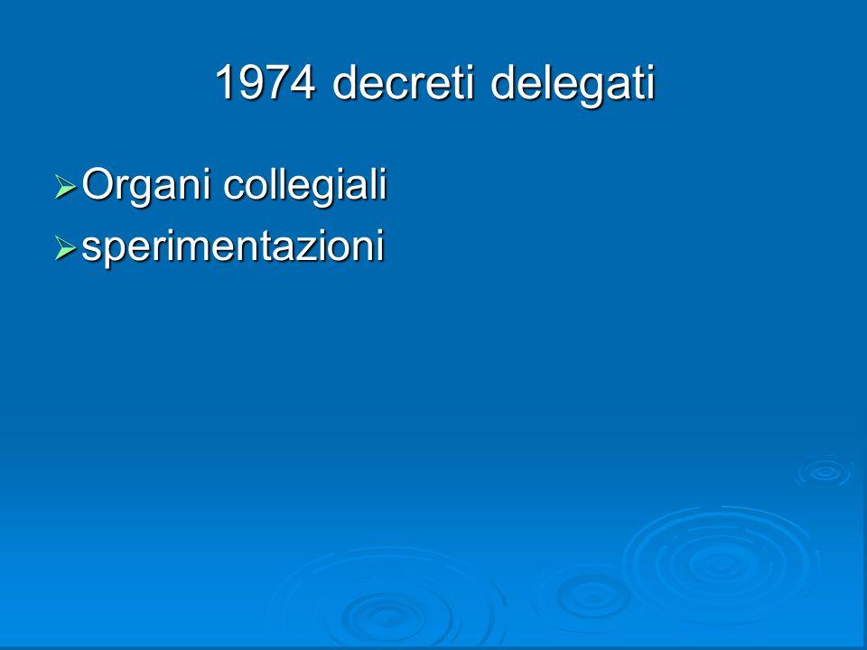 1974 decreti delegati  Organi collegiali  sperimentazioni