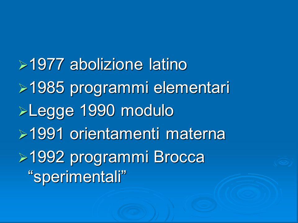 """ 1977 abolizione latino  1985 programmi elementari  Legge 1990 modulo  1991 orientamenti materna  1992 programmi Brocca """"sperimentali"""""""