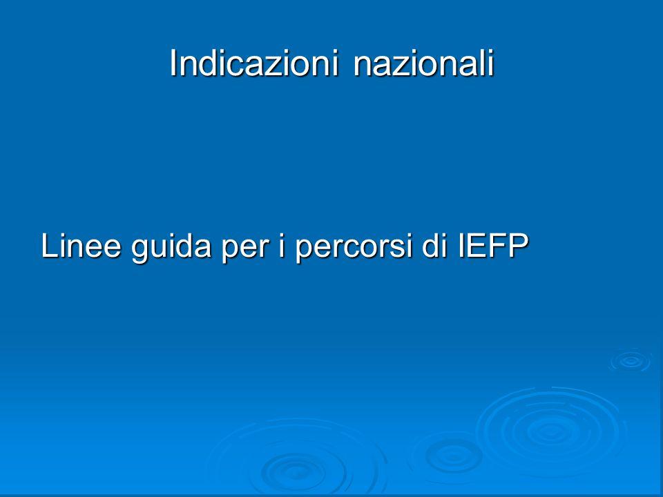 Indicazioni nazionali Linee guida per i percorsi di IEFP