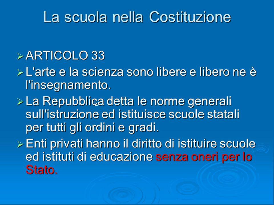 La scuola nella Costituzione  ARTICOLO 33  L'arte e la scienza sono libere e libero ne è l'insegnamento.  La Repubblica detta le norme generali sul