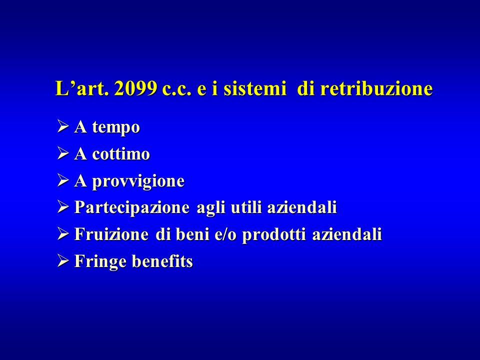  A tempo  A cottimo  A provvigione  Partecipazione agli utili aziendali  Fruizione di beni e/o prodotti aziendali  Fringe benefits L'art. 2099 c