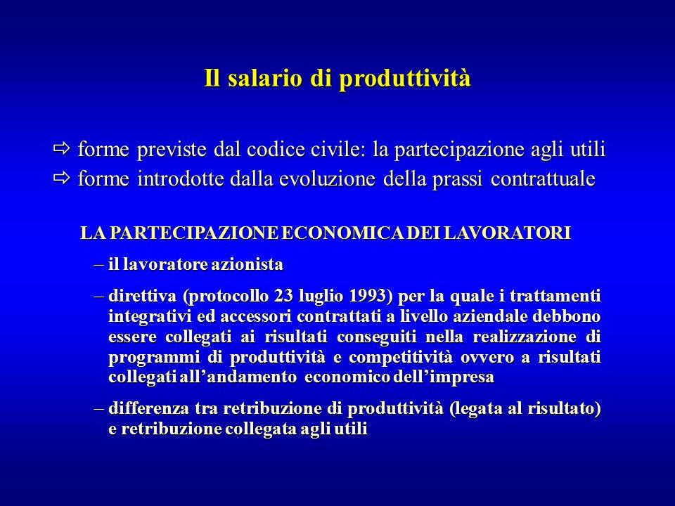  forme previste dal codice civile: la partecipazione agli utili  forme introdotte dalla evoluzione della prassi contrattuale Il salario di produttiv