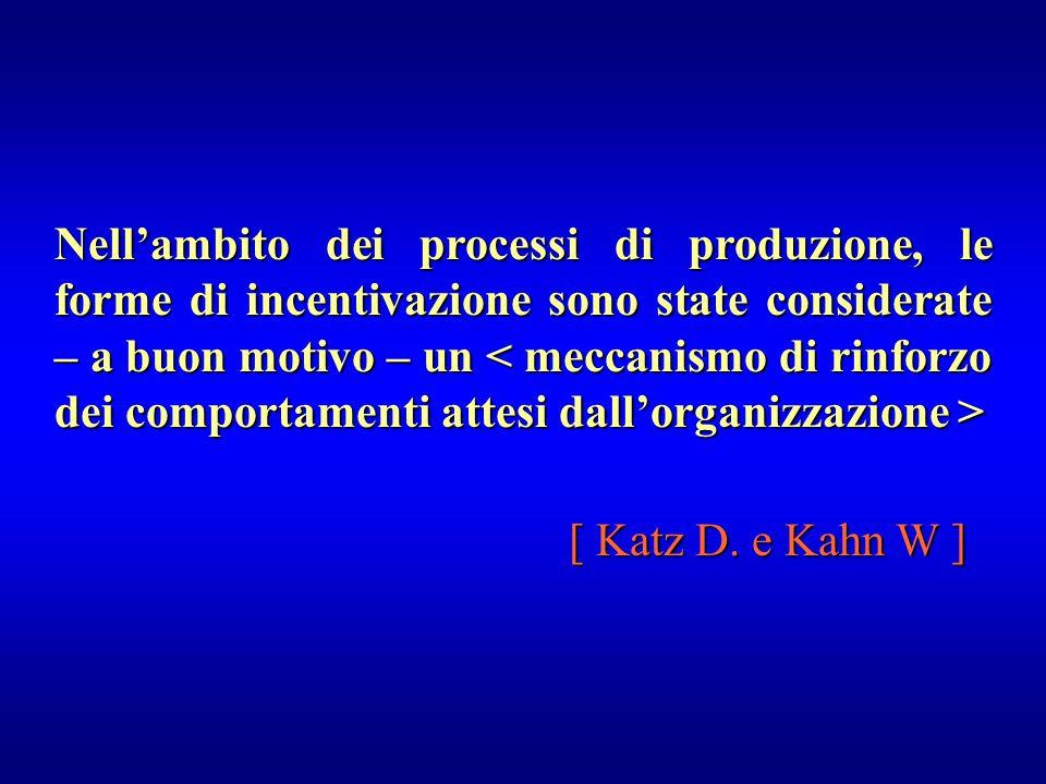 Nell'ambito dei processi di produzione, le forme di incentivazione sono state considerate – a buon motivo – un Nell'ambito dei processi di produzione,