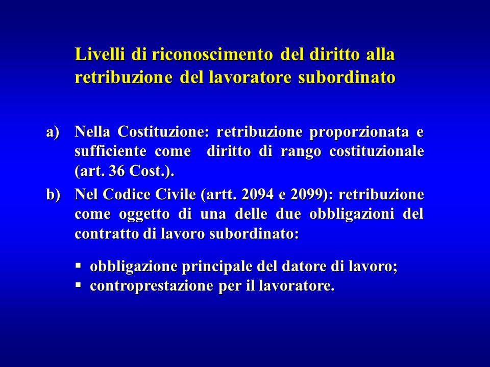 Livelli di riconoscimento del diritto alla retribuzione del lavoratore subordinato a)Nella Costituzione: retribuzione proporzionata e sufficiente come