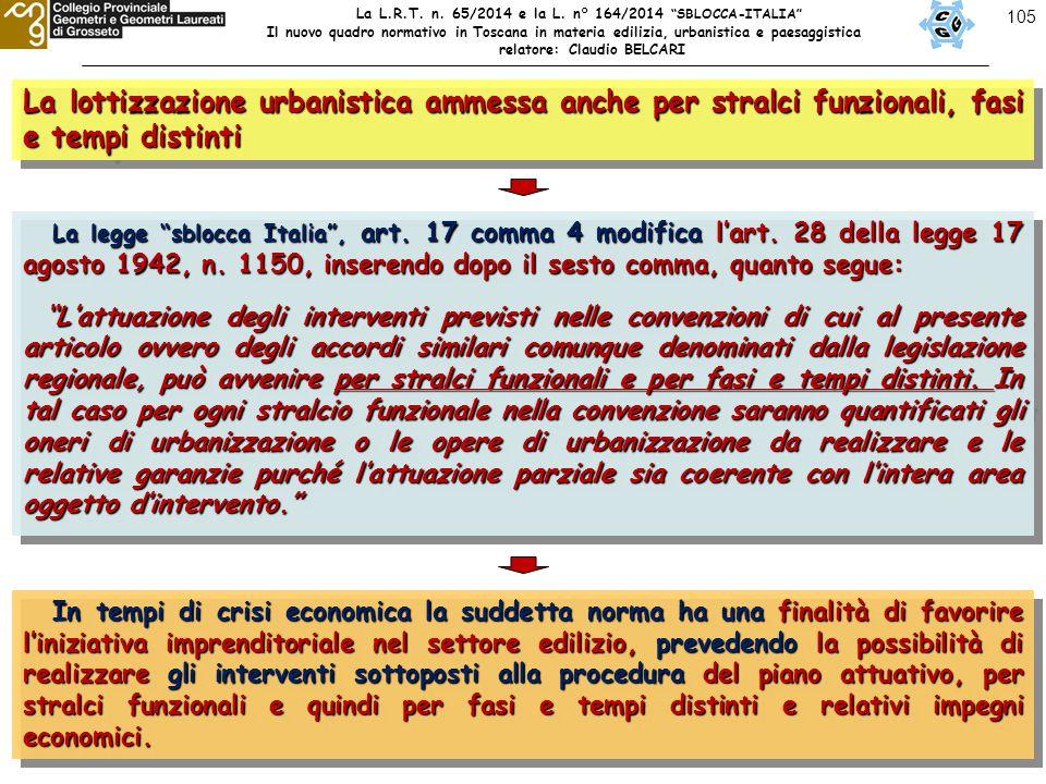 """105 La lottizzazione urbanistica ammessa anche per stralci funzionali, fasi e tempi distinti La legge """"sblocca Italia"""", art. 17 comma 4 modifica l'art"""