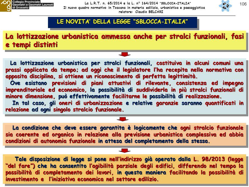 """106 LE NOVITA' DELLA LEGGE """"SBLOCCA-ITALIA"""" La lottizzazione urbanistica ammessa anche per stralci funzionali, fasi e tempi distinti La lottizzazione"""