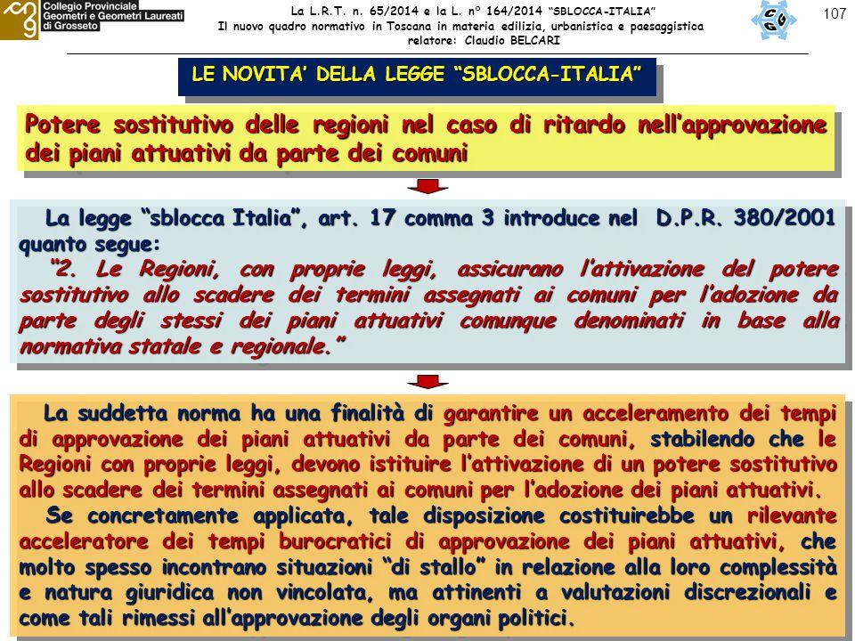 """107 LE NOVITA' DELLA LEGGE """"SBLOCCA-ITALIA"""" Potere sostitutivo delle regioni nel caso di ritardo nell'approvazione dei piani attuativi da parte dei co"""