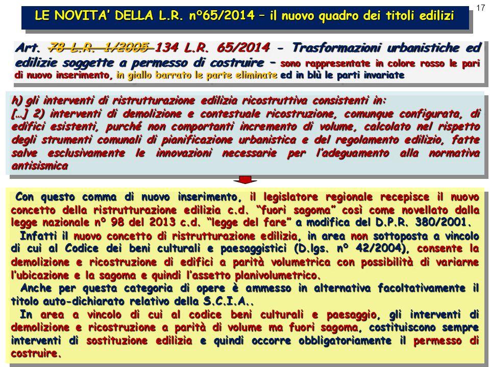17 LE NOVITA' DELLA L.R. n°65/2014 – il nuovo quadro dei titoli edilizi Art.