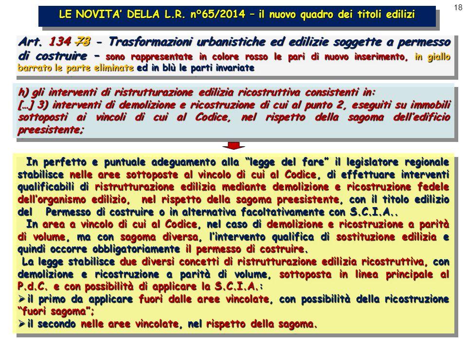 18 LE NOVITA' DELLA L.R. n°65/2014 – il nuovo quadro dei titoli edilizi Art.