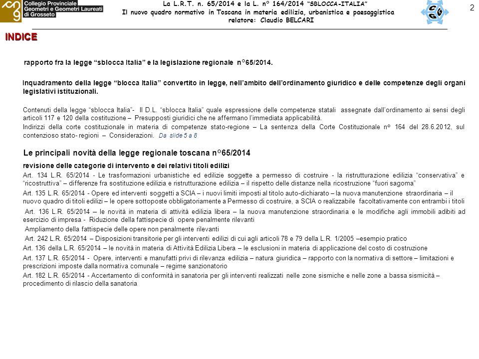 2INDICE rapporto fra la legge sblocca Italia e la legislazione regionale n°65/2014.