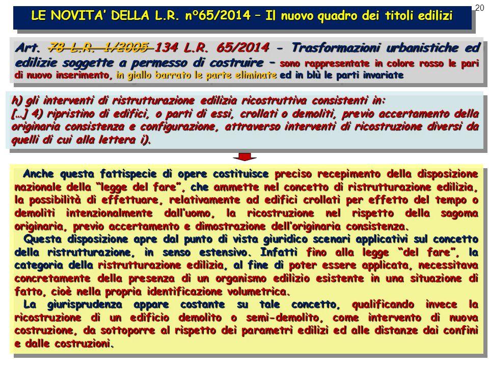 20 LE NOVITA' DELLA L.R. n°65/2014 – Il nuovo quadro dei titoli edilizi Art.