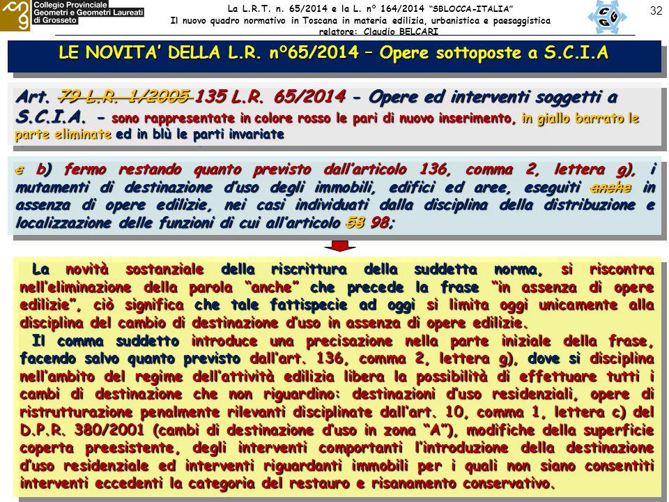 32 LE NOVITA' DELLA L.R. n°65/2014 – Opere sottoposte a S.C.I.A Art.