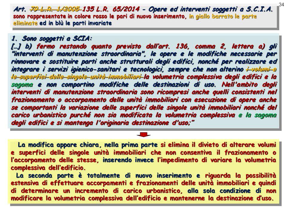 34 Art. 79 L.R. 1/2005 135 L.R. 65/2014 - Opere ed interventi soggetti a S.C.I.A.
