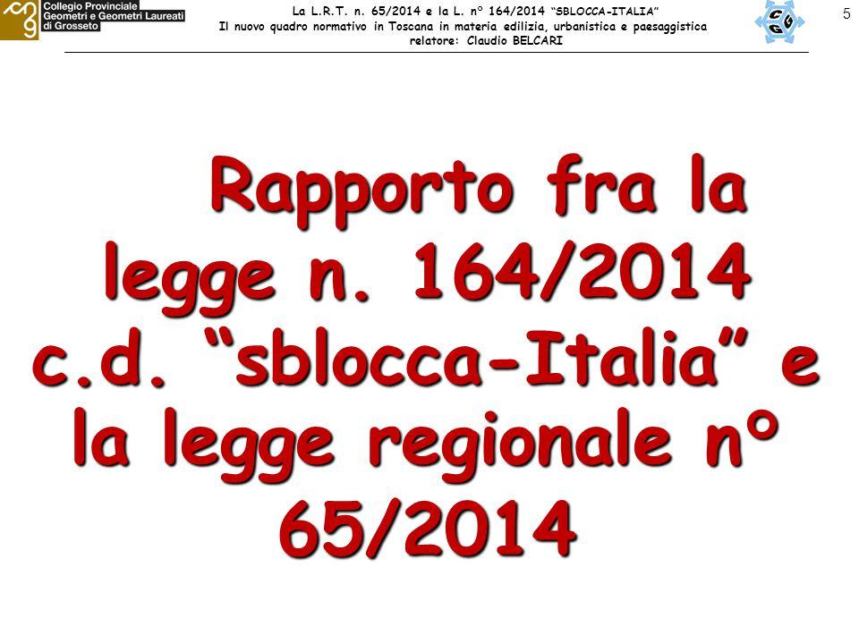 """5 Rapporto fra la legge n. 164/2014 c.d. """"sblocca-Italia"""" e la legge regionale n° 65/2014 Rapporto fra la legge n. 164/2014 c.d. """"sblocca-Italia"""" e la"""