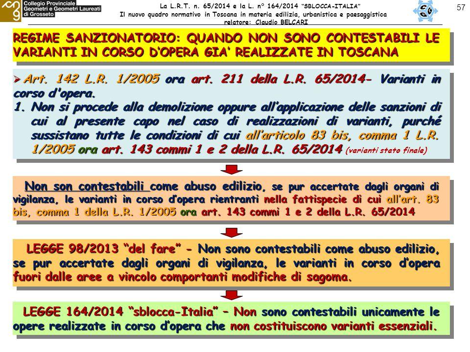 57 REGIME SANZIONATORIO: QUANDO NON SONO CONTESTABILI LE VARIANTI IN CORSO D'OPERA GIA' REALIZZATE IN TOSCANA  Art.