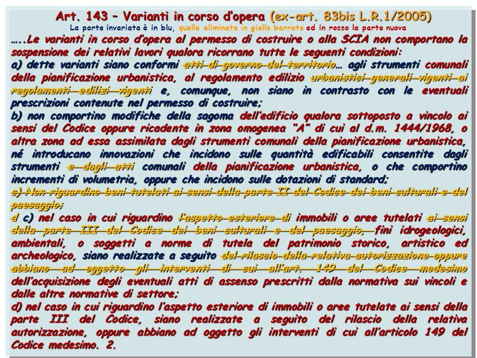Art. 143 – Varianti in corso d'opera (ex-art. 83bis L.R.1/2005) Art. 143 – Varianti in corso d'opera (ex-art. 83bis L.R.1/2005) La parte invariata è i