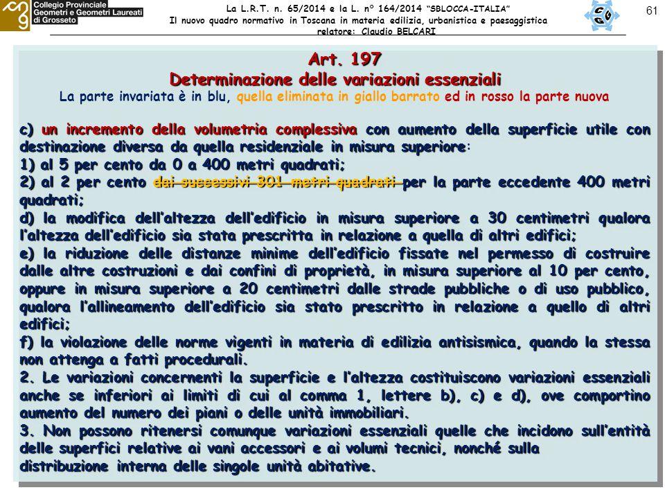 61 Art. 197 Art. 197 Determinazione delle variazioni essenziali La parte invariata è in blu, quella eliminata in giallo barrato ed in rosso la parte n