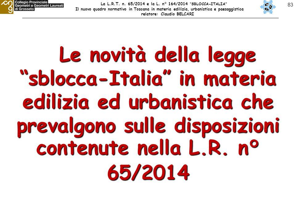 83 Le novità della legge sblocca-Italia in materia edilizia ed urbanistica che prevalgono sulle disposizioni contenute nella L.R.