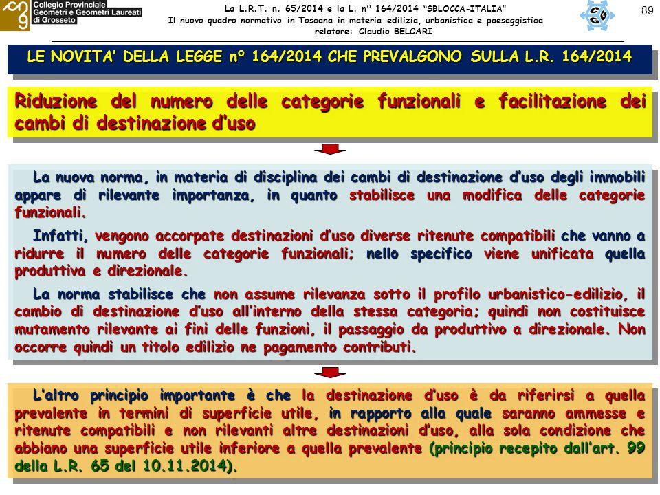 89 LE NOVITA' DELLA LEGGE n° 164/2014 CHE PREVALGONO SULLA L.R. 164/2014 Riduzione del numero delle categorie funzionali e facilitazione dei cambi di
