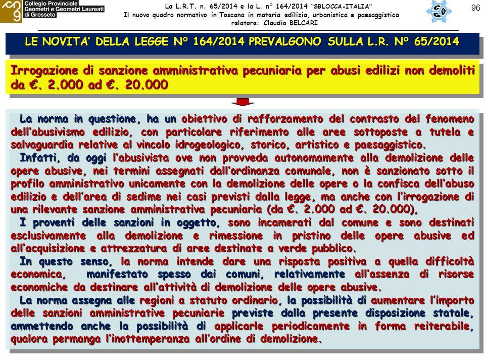 96 LE NOVITA' DELLA LEGGE N° 164/2014 PREVALGONO SULLA L.R. N° 65/2014 Irrogazione di sanzione amministrativa pecuniaria per abusi edilizi non demolit