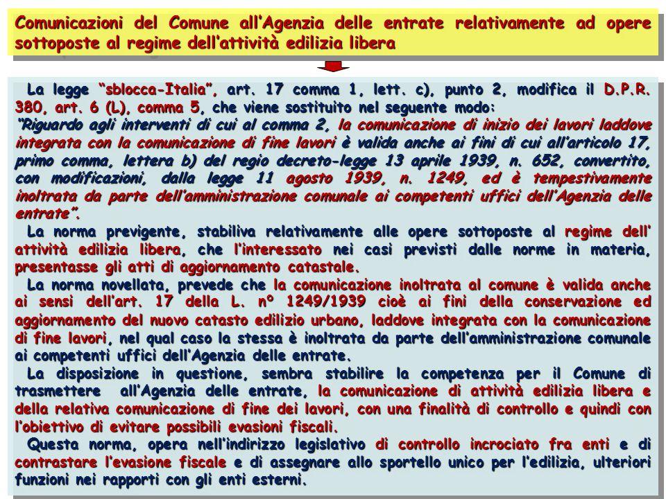 """Comunicazioni del Comune all'Agenzia delle entrate relativamente ad opere sottoposte al regime dell'attività edilizia libera La legge """"sblocca-Italia"""""""