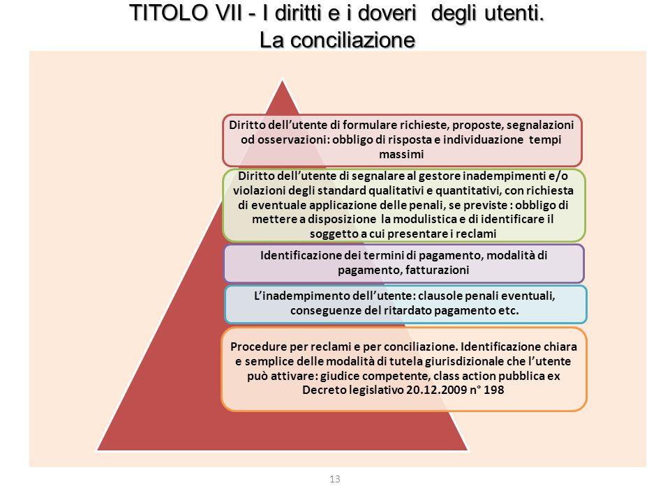 13 TITOLO VII - I diritti e i doveri degli utenti. La conciliazione Diritto dell'utente di formulare richieste, proposte, segnalazioni od osservazioni